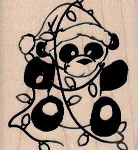 Panda Bear In Xmas Lights 2 x 2 1/2-0