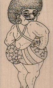 Patriotic Bathing Suit Lady 2 x 4-0