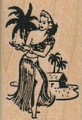 Hula Girl By Palm Trees 1 1/4 x 1 3/4-0