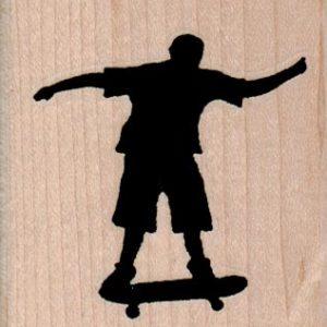 Silhouette Skate Boarder 2 1/4 x 2 1/4-0