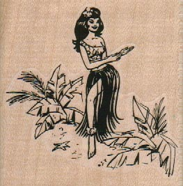 Hula Girl In Plants 2 3/4 x 2 3/4-0