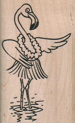 Hula Flamingo 1 3/4 x 2 3/4