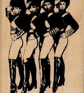 Four Saluting Showgirls 2 1/4 x 3 1/4-0