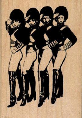 Four Saluting Showgirls 2 1/4 x 3 1/4