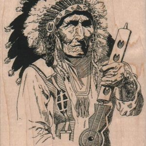 Indian Chief With Peace Pipe 3 3/4 x 5-0