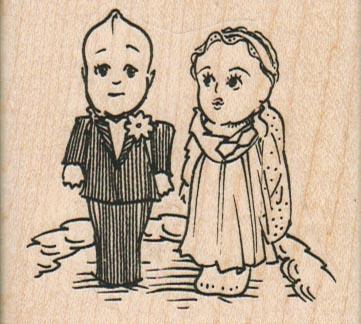 Kewpie Bride & Groom  2 1/2 x 2 1/4