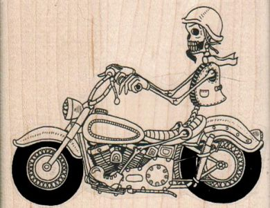 Skeleton On Motorcycle 3 1/4 x 2 1/2-0