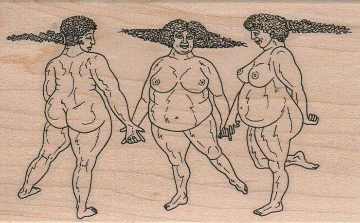 Three Plump Graces 3 1/4 x 5