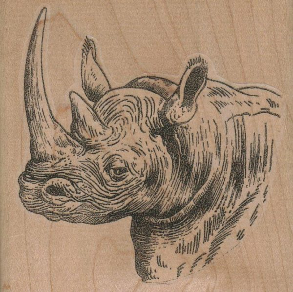 Rhino Head Facing Left 3 1/2 x 3 1/2-0