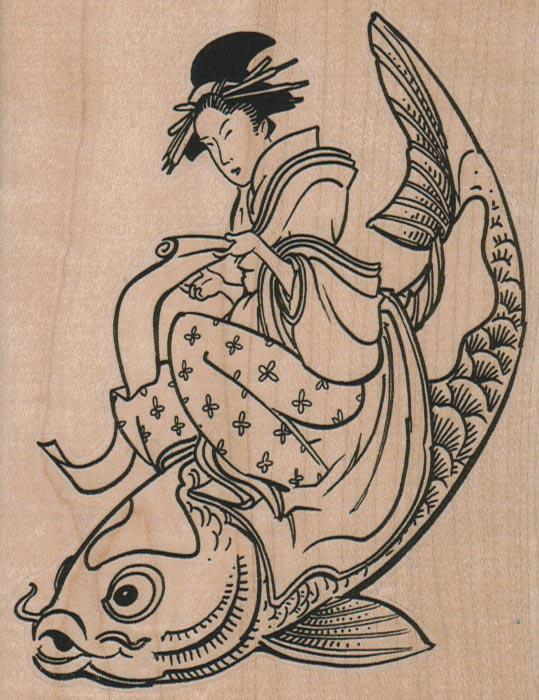 Geisha Riding Koi 3 3/4 x 4 3/4-0