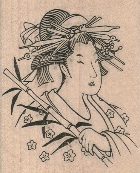 Geisha With Bamboo 3 1/4 x 4-0