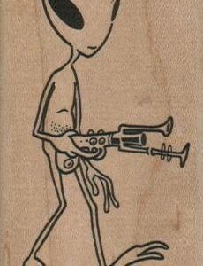 Alien With Gun 2 x 3 1/4-0
