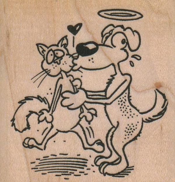Angel Dog Kissing Cat 2 1/4 x 2 1/4-0