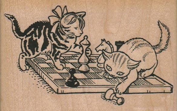 Kitties Playing Chess 4 x 2 1/2-0