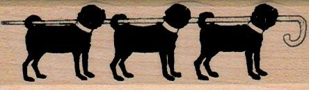 Three Pugs With Cane 1 x 3-0
