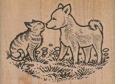 Dog Greeting Cat 2 3/4 x 2-0