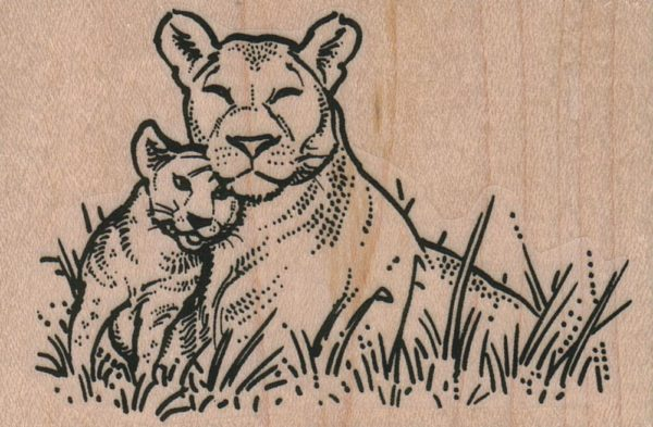 Mother Lion And Cub 3 1/2 x 2 1/4-0