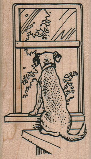 Dog Staring Out Window 2 1/4 x 3 3/4-0
