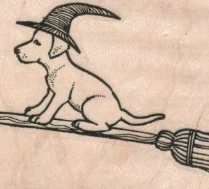 Dog Witch On Broom 2 3/4 x 2-0