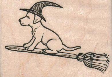 Dog Witch On Broom 2 3/4 x 2-0