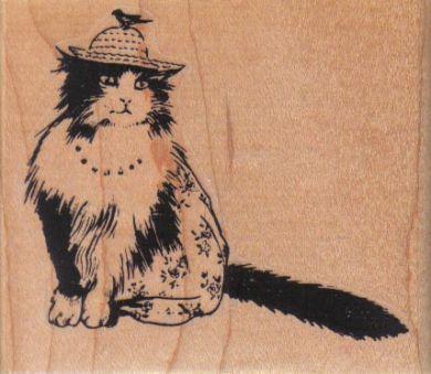 Cat With Bird On Hat 3 x 2 1/2-0