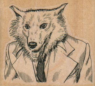 Wolf Dog in Suit 2 1/4 x 2-0