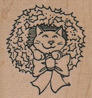 Cat In Wreath 2 1/4 x 2 1/4-0