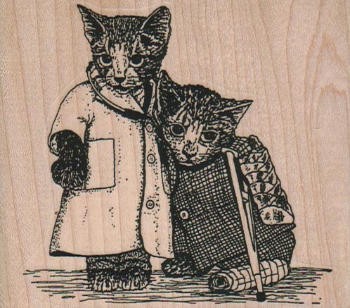 Cat Doctor And Patient 3 1/2 x 3-0