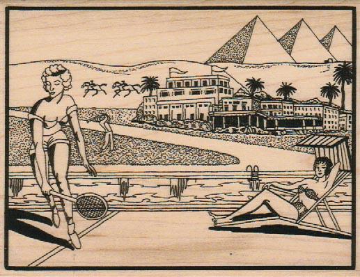 Tennis By The Pyramids 4 1/4 x 5 1/4