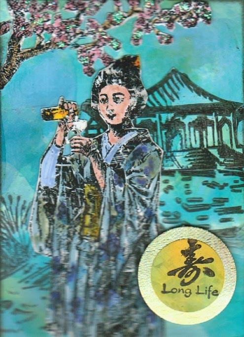 Geisha Pouring Drink 1 3/4 x 4-34985