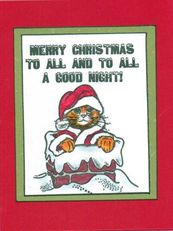 Cat Santa In Chimney 2 3/4 x 3-32383