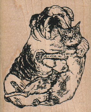 Bulldog and Cat Pals 2 3/4 x 3 1/2-0