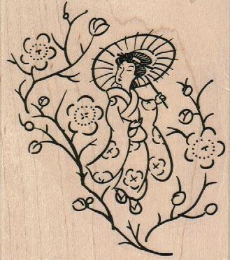 Geisha In Blossoms 3 1/2 x 3 3/4-0