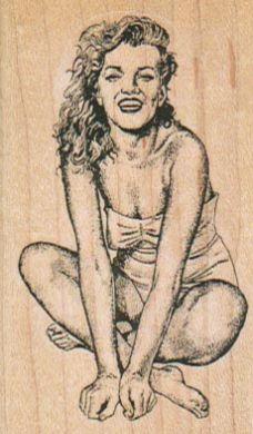 Swimsuit Lady Sitting 1 3/4 x 2 3/4-0