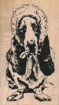 Basset Hound In Bonnet 1 1/2 x 2 1/2-0
