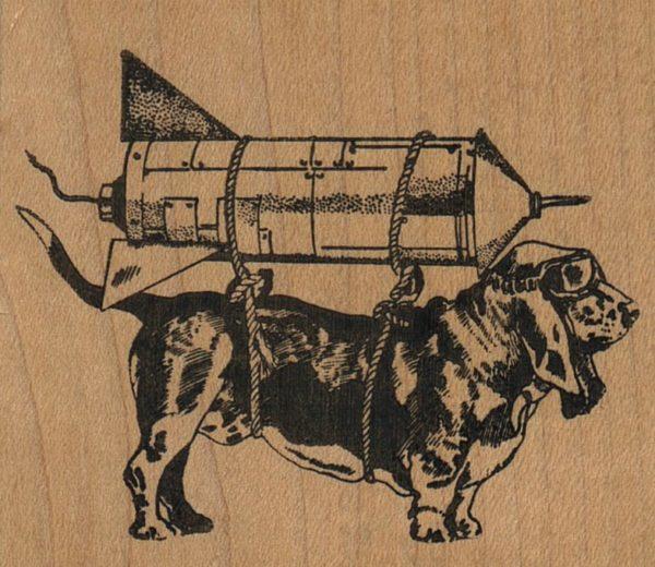 Basset Hound Dog Rocketeer 2 3/4 x 2 1/2-0