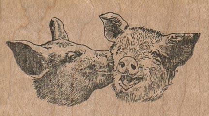 Kissing Pigs 3 x 1 3/4-0