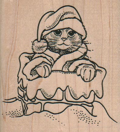 Cat Santa In Chimney 2 3/4 x 3-0