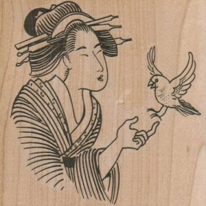 Geisha With Bird 3 3/4 X 3 3/4-0