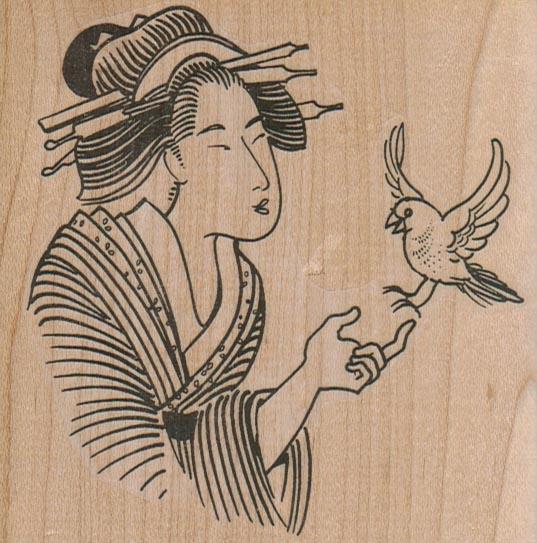 Geisha With Bird 3 3/4 X 3 3/4-0