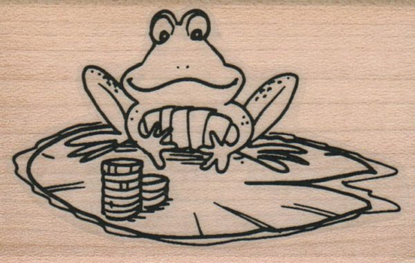 Poker Frog On LilyPad 1 3/4 x 2 1/2-0