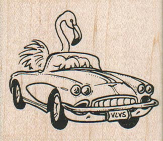 Flamingo Driving Car 2 1/4 x 2-0