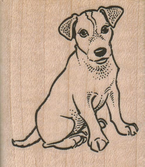 Sitting Jack Russell Dog 1 3/4 x 2-0