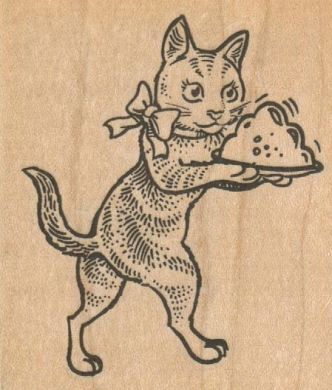 Cat With Dinner 2 1/2 x 2 3/4-0