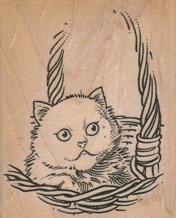 Kitty In Basket 2 1/2 x 3-0