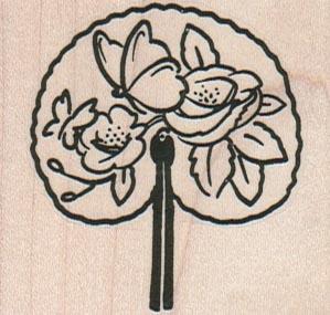 Butterfly & Flower Fan 2 1/4 x 2-0