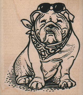 Bulldog With Scarf/Glasses 2 1/4 x 2 1/2-0
