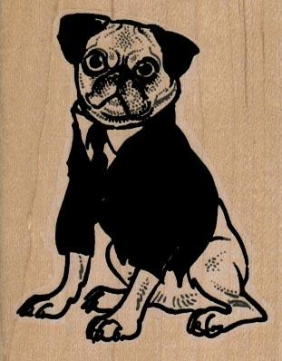 Pug Dog In Coat 2 1/4 x 2 3/4-0