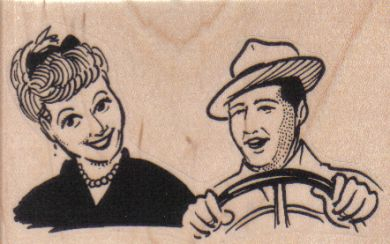 Happy Couple Driving 3 1/4 x 2-0