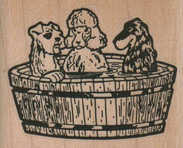 Three Dogs In Tub 2 1/4 x 1 3/4-0